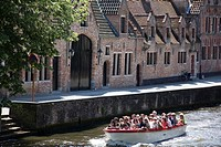 packed in a canalboat in Bruges, Belgium