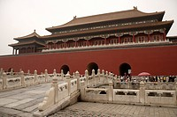 China, Beijing, entrance to the Forbidden City, bridge