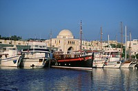 Greece, Rhodes, Mandraki Harbor, commercial harbor
