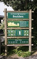 Sign at Boulders Beach Cape Peninsula, near Simon's Town towards Cape Point, near Cape Town advising about the penguins