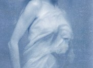 painterly image of woman wrapped in sheet