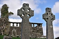 Celtic cross in the graveyard of Cill Chriosd / Kilchrist Church, a ruined former parish church of Strathaird on the Isle of Skye, Highlands, Scotland...
