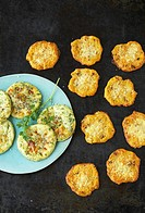 Parmesan biscuits and green potato cakes