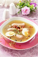 Soup with sausage and egg for Easter