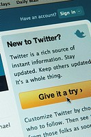 Twitter networking site on the internet