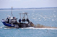 Fishing trawler off the port of Cancale in the Brittany region of France
