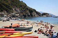 The village of Monterosso- part of the Cinque Terre - offers one of the few beaches found along this strip of coastline in Italy