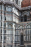 The side exterior of the Duomo in Florence in Italy