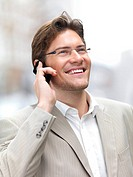 Closeup of a businessman using mobile phone