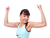 Young beautiful fitness girl flexing on white background