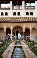 ALHAMBRA COMARES PALACE PATIO DE LA ACEQUIA GRANADA SPAIN.