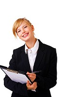 Portrait of a friendly and beautiful business woman standing with her paperwork This isolate is taken in our studio