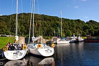 Boats on the Crinan Canal at Crinan Argyll & Bute Scotland