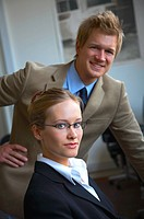 Business supervisor This is a series of business pictures with two professional Scandinavian models The picture is taken at an office area in Denmark