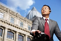 Businessman on a bike