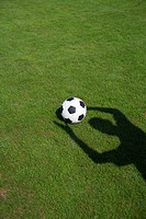 Ball on grass, shadow of a person (thumbnail)