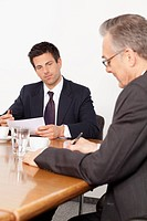 Two businessmen in conference room, Munich, Bavaria, Germany