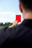 Referee showing red card