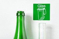 Two glass bottles for recycling, Germany