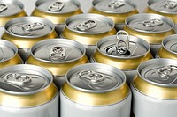 Row of beer cans with one opened can, Germany