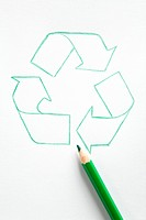 Recycling symbol and green color pencil, Germany