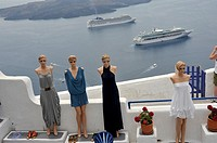 Mannequins and cruise ships, Santorini, Greece