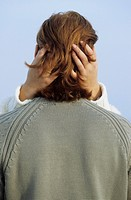 Female Hands touching the Back of the Head of an auburn_haired Man _ Embracement _ Kiss _ Affectioness