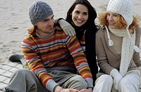 Three Friends in warm Clothing at the Beach _ Friendship _ Trip _ Beach _ Season