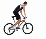 Young man cycling on isolated white background
