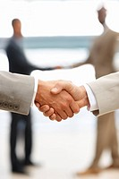 Closeup of business people shaking hands, act of agreement