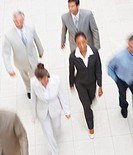 Blurred image of a group of business colleagues, walking