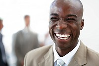 Closeup portrait of a cheerful African American business man