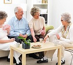 A portrait image of a group of senior people enjoying a snack over a card game