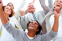 Closeup of a business team rejoicing on white