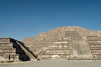Pyramid of the Moon, tourist climbing the stairway, Archaeological Zone of Teotihuacan, State of Mexico, Mexico