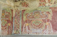 Mural in the Palace of Tetitla, believed to be a representation of the Great Goddess of Teotihuacan, Archaeological Zone of Teotihuacan, State of Mexi...