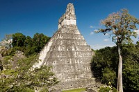 Temple 1 also know as the Jaguar Temple and Ball Court in foreground, Tikal National Park, Peten, Guatemala