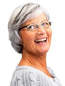 Closeup of a delighted old woman laughing isolated over white background