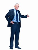 Smiling mature business man welcoming you over white background