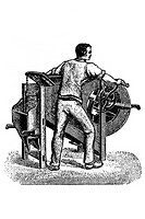 Machine for cleaning grain cereal. Old book illustration, 1900