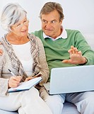 Smiling retired couple sitting together and extracting data from the internet using a laptop