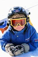 A little boy on a snowboard, Sweden.