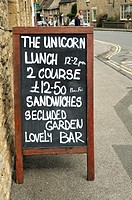 Unicorn Hotel lunch menu at Stow-on-the-Wold, Cotswolds, UK