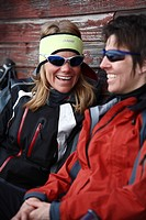 Two smiling skiers, Lapland, Sweden.