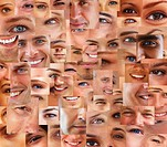Collection and collage of parts of many human smiling face