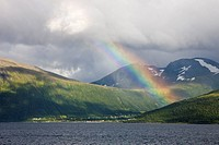 Rainbow and fiord in Norway.
