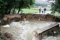 Bridge collapsed after heavy rains. Mariña, Province of Lugo, Galicia, Northern Spain