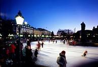 Skating_rink, Kungstradgarden, Stockholm, Sweden.