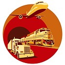 Vectorial round vignette on theme of cargo transportation with three basic types of transports, executed in the limited palette  No gradients and blen...