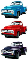 Vectorial icon set of American old-fashioned pickups isolated on white backgrounds  Every pickup is in separate layers  No gradients and blends